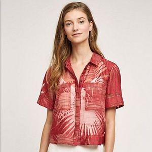 Anthropologie Maeve Sun Palm Wine  Top sz 12